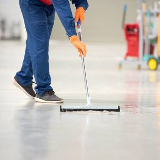 warehouse floor being cleaned